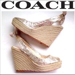Coach Gold metallic Espadrilles wedge